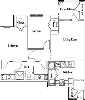 B1 -Two Bedroom / One Bath - 1,000 Sq. Ft.*